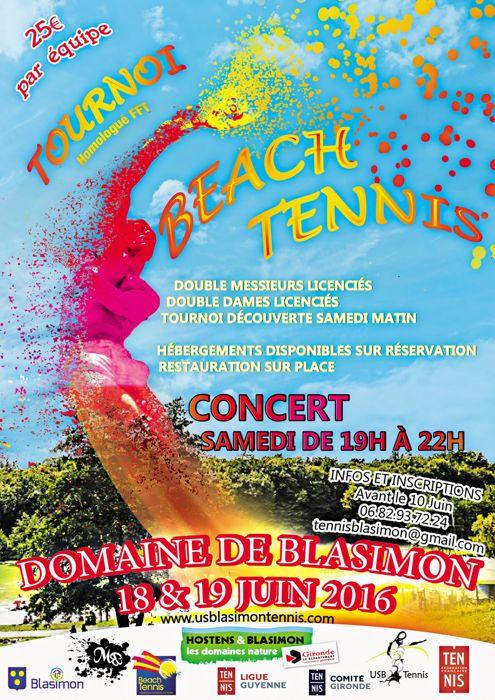 Tournoi de Beach Tennis FFT à Blasimon les 18 & 19 juin 2016