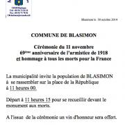 Cérémonie du 11 novembre à Blasimon
