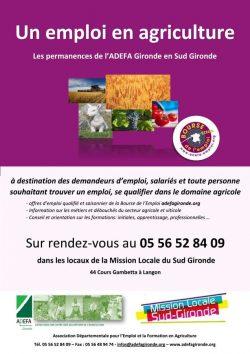 Un emploi en agriculture, les permanences de l'ADEFA Gironde en Sud Gironde