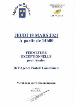 Agence postale fermée jeudi 18 mars 2021 à partir de 14h00