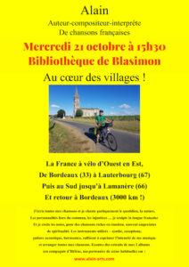 Octobre à la bibliothèque de Blasimon – Concert Chansons française mercredi 21 octobre à 15h30