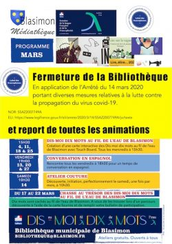 Fermeture de la Bibliothèque et report de toutes les animations