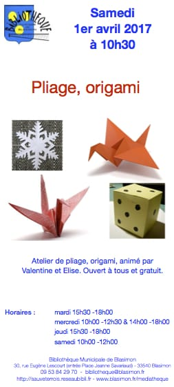 Atelier d'Origami à la bibliothèque samedi 1er avril 2017 à 10h30