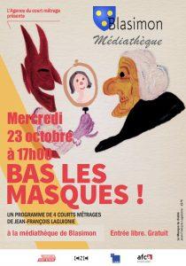 Bas les masques, film d'animation de Jean-François Laguionie, mercredi 23 octobre à 17h à la bibliothèque