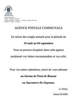 Agence postale communale du 19 août au 4 septembre