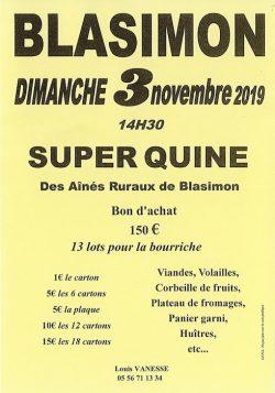 Loto des Aînés Ruraux à Blasimon dimanche 3 novembre 2019
