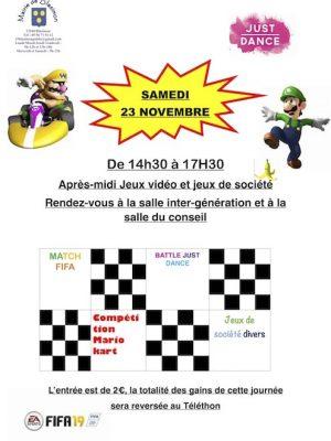 Après-midi jeux vidéo et jeux de société samedi 23 novembre, salle inter-génération et salle du conseil