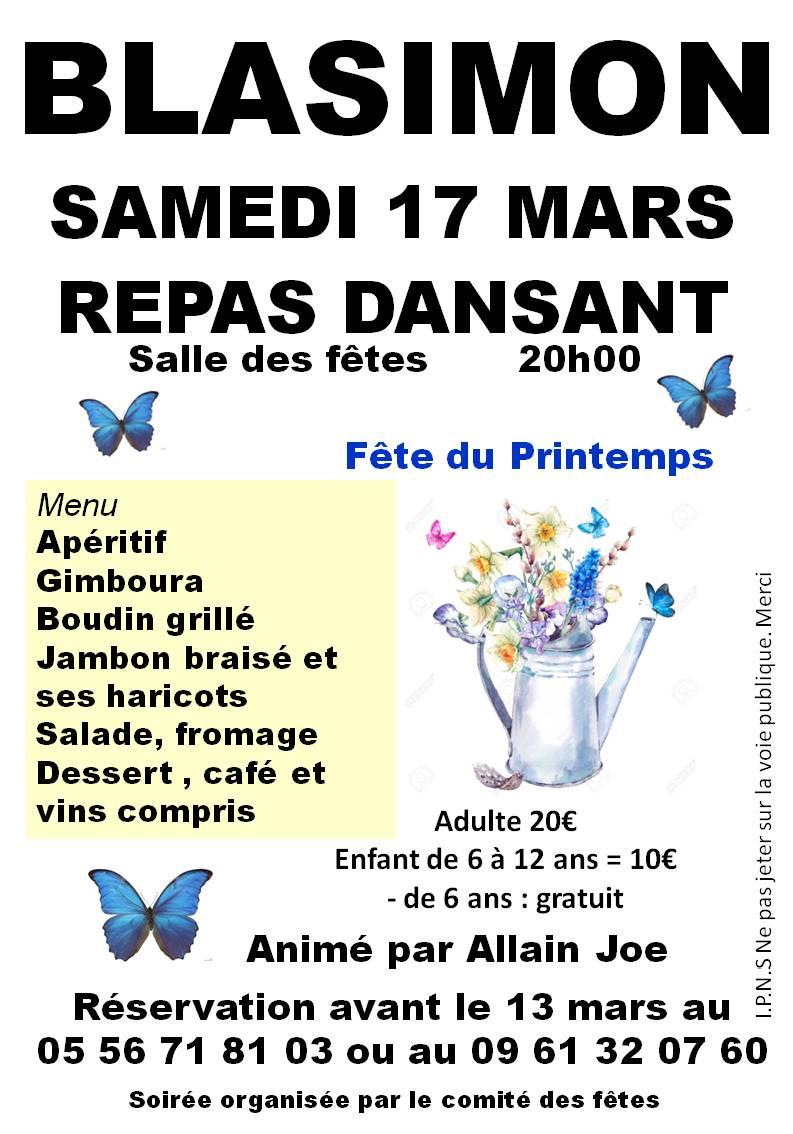 Fête du Printemps à Blasimon samedi 17 mars à 20h00