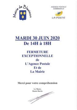 La mairie et l'agence postale communale seront fermées mardi 30 juin de 14h00 à 18h00