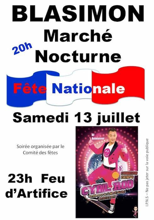 Fête nationale samedi 13 huillet à Blasimon