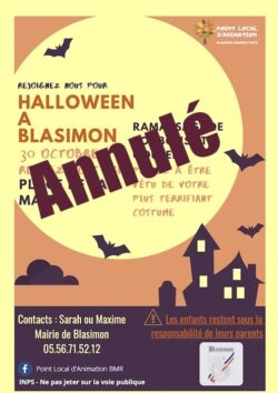 Annulation – Halloween à Blasimon vendredi 30 octobre 2020 à 15h00