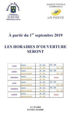 Mairie et Agence postale communale : nouveaux horaires d'ouverture à partir de septembre 2019