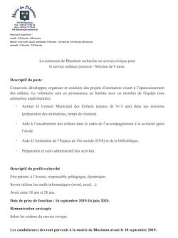 Recrutement d'un service civique