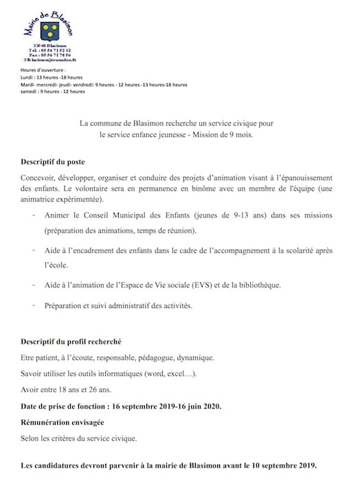 Recrutement d'un service civique à Blasimon