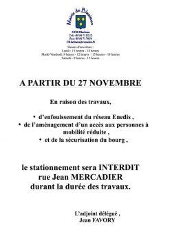 Travaux rue Mercadier à partir du 27 novembre