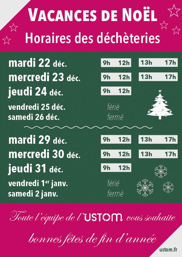 Horaires des déchèteries pour les vacances de Noël