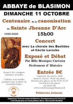 Annulation – Fête pour le centenaire de la canonisation de Sainte Jeanne d'Arc dimanche 11 octobre en l'église de l'abbaye de Blasimon