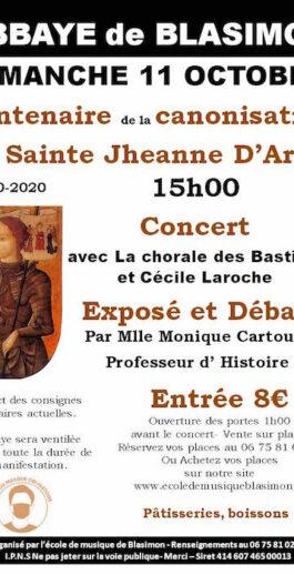 Fête pour le centenaire de la canonisation de Sainte Jeanne d'Arc dimanche 11 octobre en l'église de l'abbaye de Blasimon