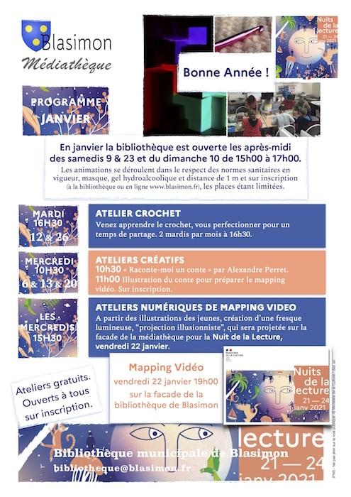 Programme des activités de la bibliothèque de Blasimon pour janvier 2021