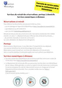 Service de retrait delivres & cd à la bibliothèque – Poursuite du service public durant le confinement de la bibliothèque
