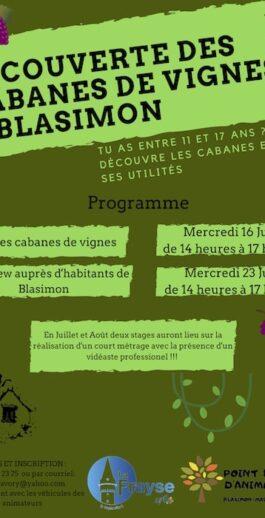 Découverte des cabanes de vignes de Blasimon pour les jeunes de 11 à 17 ans