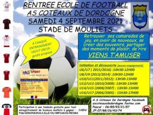 Read more about the article Samedi 4 septembre au stade de Mouliets Rentrée de l'école de football AS Coteaux de Dordogne