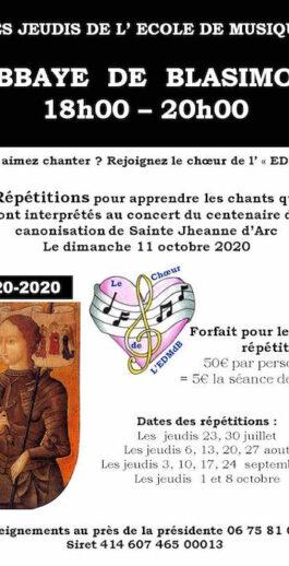 Les jeudis de l'école de musique de Blasimon – Atelier chants – Prochain atelier le jeudi 17 septembre