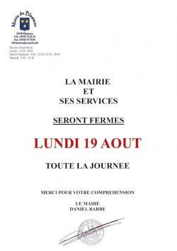 La mairie et ses services seront fermés lundi 19 août