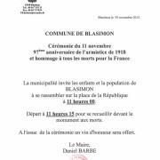 Cérémonie du 11 novembre 2015 à Blasimon