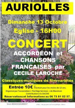 Concert dimanche 13 octobre à Auriolles à 16h00
