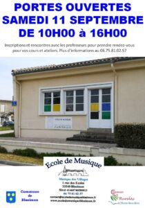 Read more about the article Portes ouvertes de l'école de musique samedi 11 septembre de 10h00 à 16h00