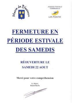 La mairie et l'agence postale communale seront fermées les samedis du 18 juillet au 14 août