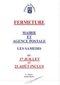 Read more about the article La mairie et l'agence postale communale seront fermées les samedis du 17 juillet au 21 août