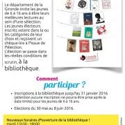 Lire, Elire, une opération du département de la Gironde pour les bibliothèques de lecture publiques2016
