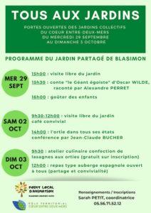Read more about the article Tous aux jardins, portes ouvertes des jardins collectifs du Coeur entre deux mers du mercredi 29 septembre au dimanche 3 octobre