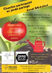 Read more about the article Chantier participatif au jardin partagé jeudi 8 juillet 2021