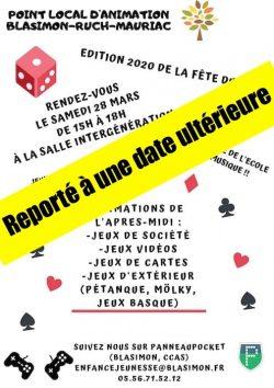 Report de la Fête du jeu Blasimon-Ruch-Mauriac du samedi 28 mars à une date ultérieure