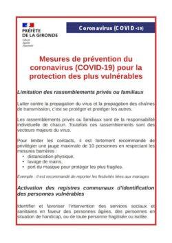 Préfecture – Mesures de prévention du coronavirus (COVID-19) pour la protection des plus vulnérables