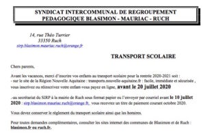 SIRP – Inscription au transport scolaire