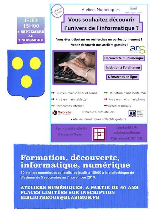 Atelier numérique séniors jeudi 19 septembre à 15h00 à la bibliothèque