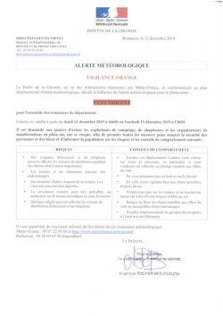 Vigilance Orange Vent violent pour l'ensemble des communes du département de la Gironde