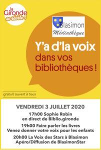 Y'a d'la Voix – La comédienne Sophie Robin à la bibliothèque de Blasimon en direct de Biblio.gironde