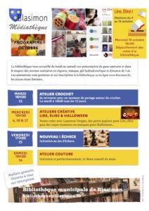 Read more about the article Les animations d'octobre de la bibliothèque, samedi 16 atelier couture – Résultats des élections Lire élire