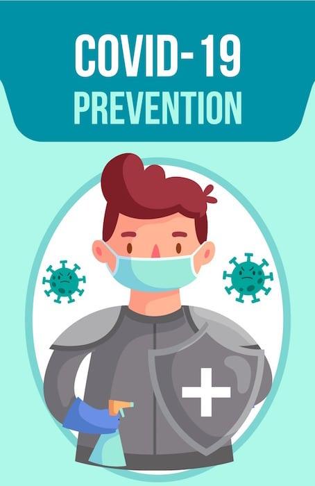 covid 19 prévention - masque - gel hydroalcoolique - distance de 1 mètre