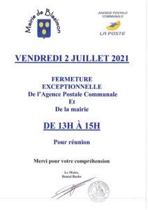 Read more about the article Fermeture de la Mairie et de l'agence postale communale vendredi 2 juillet 2021 de 13h00 à 15h00