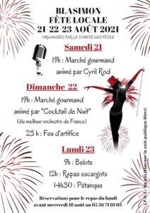 Read more about the article Fête locale de Blasimon les 21, 22 & 23 août 2021