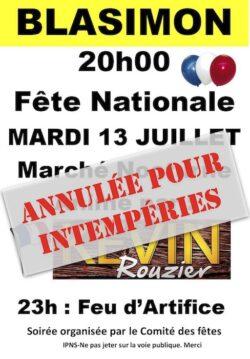 Fête Nationale mardi 13 juillet à Blasimon annulée pour intempéries