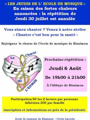 Les jeudis de l'école de musique de Blasimon – Atelier chants – Prochain atelier le jeudi 6 août