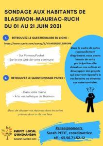 Read more about the article Sondage aux habitants de Blasimon-Mauriac-Ruch du 05 au 21 juin 2021